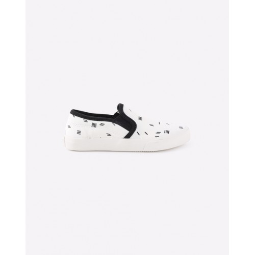 United Colors of Benetton Unisex White Printed Slip-On Sneakers