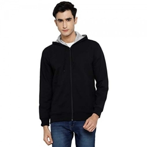 Alan Jones Clothing Black Cotton Solid Hooded Sweatshirt