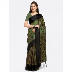 dc0455275 Rajnandini Olive Green   Black Silk Blend Printed Saree