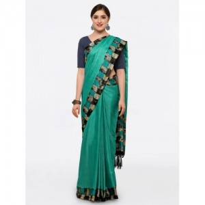 40043203d Buy Ishin Green Printed Poly Silk Saree online