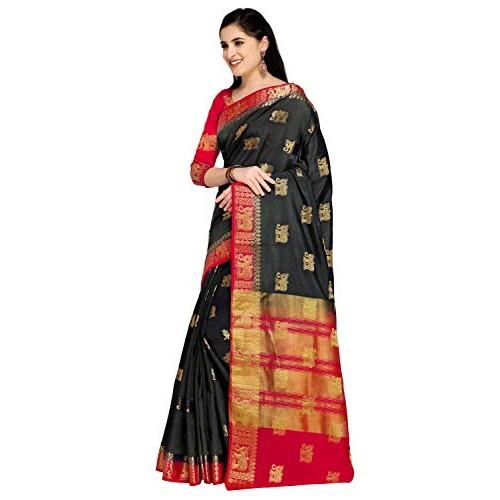 Rajnandini Women's Raw Silk Elephant Weaving Kanjivaram Style Saree With Blouse(JOPLNS5000_Free Size)
