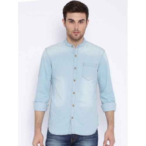e70632ab687c Buy Highlander LIght Blue Cotton Denim Solid Shirt online