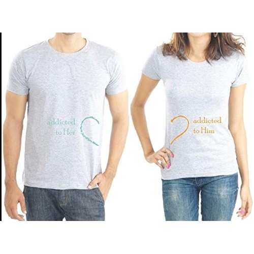 88229d6e6f Buy LaCrafters Gray Cotton Printed Couple T-Shirts online | Looksgud.in