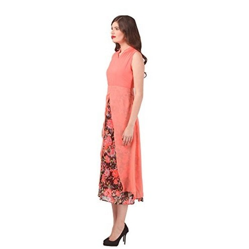 Eyelet's Pink Georegtte Solid Party Gowns