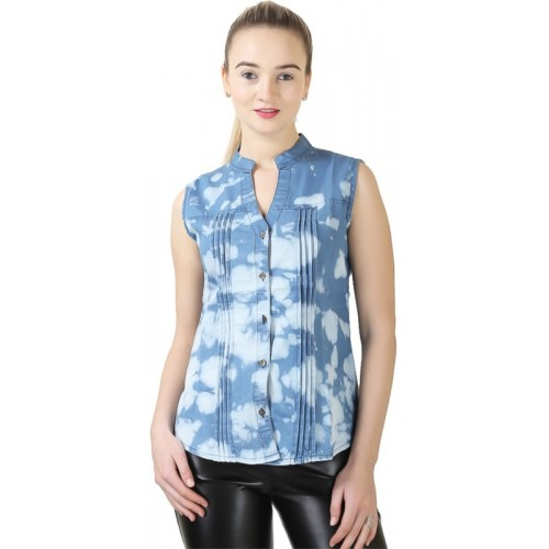 Ela collection Women's Solid, Floral Print Casual Mandarin Shirt
