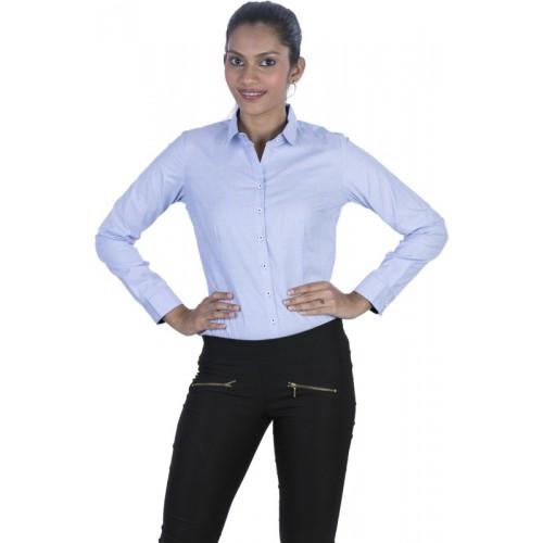 Elle Et Lui Women's Solid Formal Blue Shirt