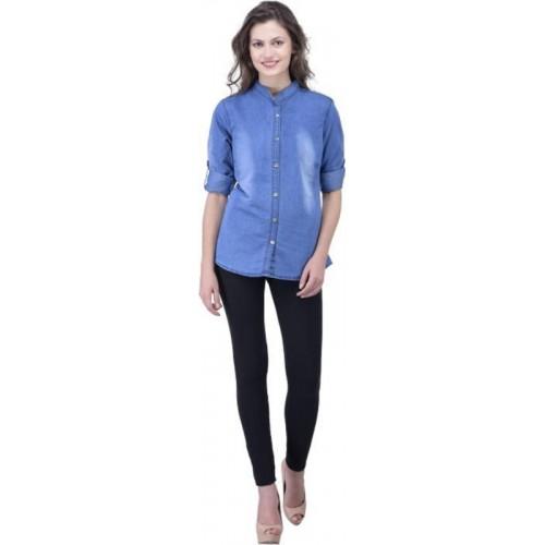 Trendyfrog Women Self Design Casual Blue Shirt