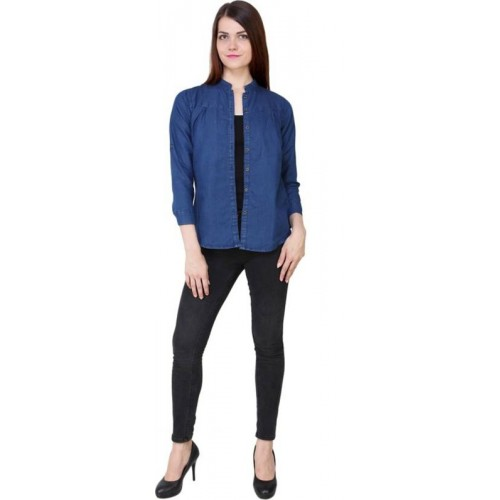 YASMIN CREATIONS Women Solid Casual Light Blue Shirt