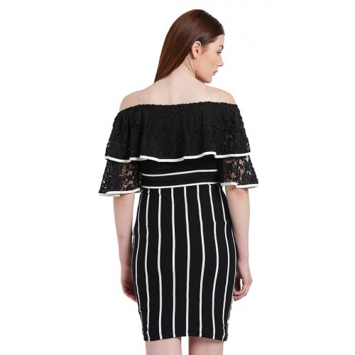 Texco Women Black And White Off Shoulder Stripe Dress