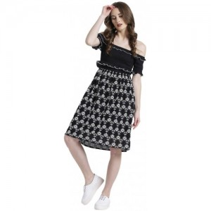 c02795b92 Texco Women Black & White Cotton Off shoulder Ruffled Embroidered Dress
