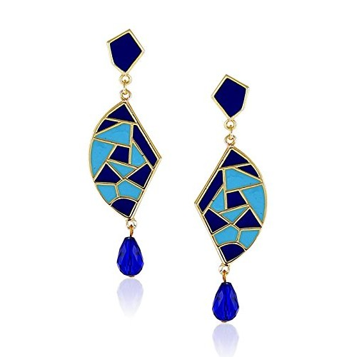 Crunchy Fashion Gold Platted Stylish Fancy Party Wear Multicolor Dangler Earring for girls