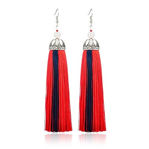 Crunchy Fashion Jewellery Oxidised Silver Stylish Thread Tassel Long Earrings For Women & Girls