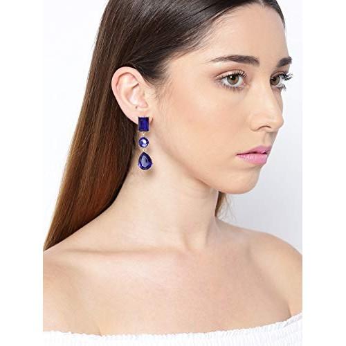 Crunchy Fashion Jewellery Stylish Fancy Party Wear Bohemian Blue Crystal Drops Earrings for Women & Girls