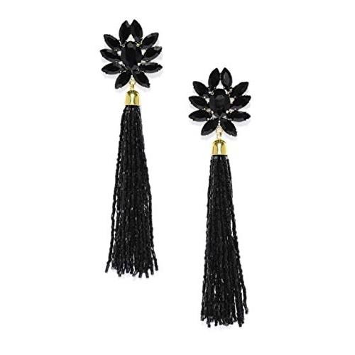 Crunchy Fashion Jewellery Bohemian Stylish Fancy Party Wear Black Crystal Stud Beaded Tassel Earrings for Girls and Women