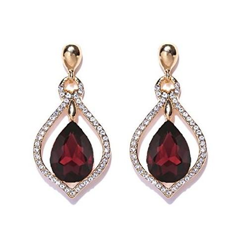Crunchy Fashion Jewellery Stylish Fancy Party Wear Traditional Crystal Drop Earrings for Girls & Women