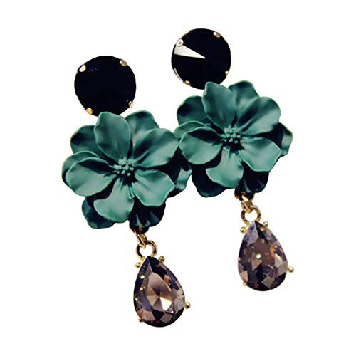 Crunchy Fashion Jewellery Stylish Gold Plated Green-Black Crystals Fancy Party Wear Earrings for Women & Girls