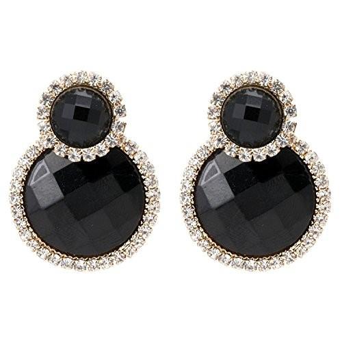 Crunchy Fashion Gold Plated Black Dangle & Drop Earrings for Women (Black)