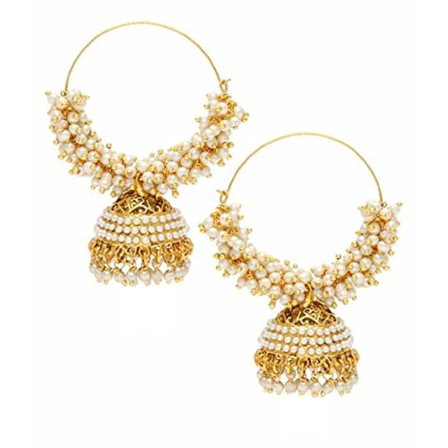 Crunchy Fashion Jewellery Bollywood Inspired Stylish Party Wear Gold Plated Traditional Pearl Jhumki/Jhumka Earrings for Girls/Women