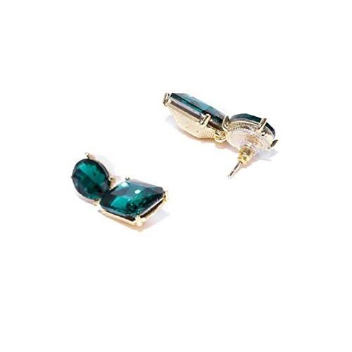 Crunchy Fashion Jewellery Stylish Fancy Party Wear Green Crystal Earrings for Women & Girls