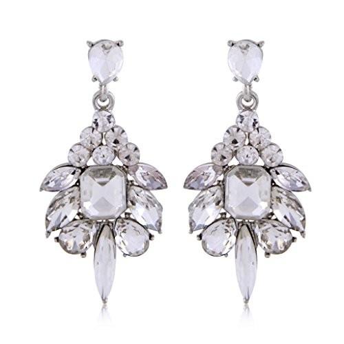 Crunchy Fashion Jewellery Gold Plated Stylish Clear Drop Earrings for Girls Fancy Party Wear Earrings for Women