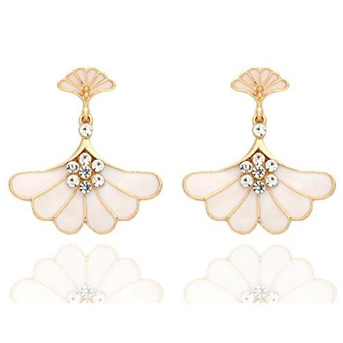 Crunchy Fashion Jewellery Gold Plated Stylish Triangle Crystal Drop Earrings for Girls Fancy Party Wear Earrings for Women