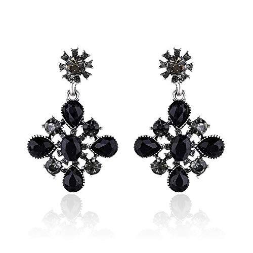 Crunchy Fashion Jewellery Bohemian Stylish Fancy Party Wear Black Crystal Earrings for Girls and Women