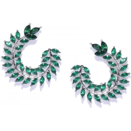 Crunchy Fashion Crunchy Fashion Green & Silver-Toned Leaf Shaped Drop Earrings Pearl Alloy Stud Earring