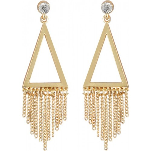 Crunchy Fashion Sequence on Pyramid Golden Alloy Chandelier Earring