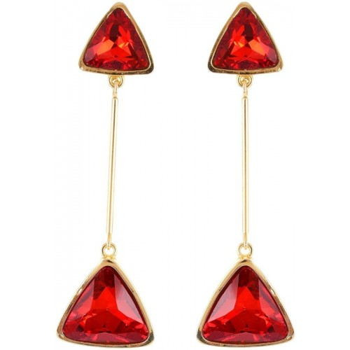 Crunchy Fashion Red Trendy Triangles Statement Alloy, Crystal Drop Earring