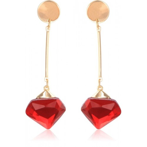 Crunchy Fashion Gold Plated Stylish Red Crystal Drop Long Earrings Metal Drop Earring