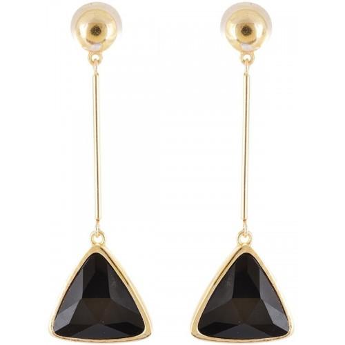 Crunchy Fashion Black Triangle Drop Statement Alloy, Crystal Drop Earring