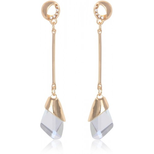 Crunchy Fashion Gold Plated Stylish Clear Crystal Drop Long Earrings Metal Drop Earring