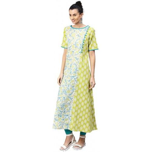Jaipur Kurti Women Green Floral A-Line Cotton Kurta