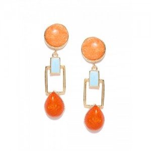 Crunchy Fashion Gold-Toned & Orange Stone-Studded Geometric Drop Earrings