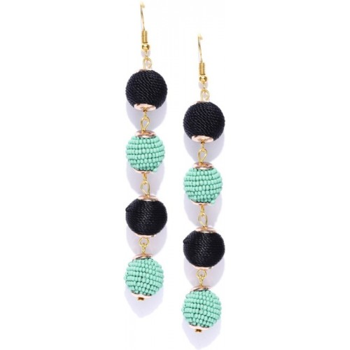 Crunchy Fashion Crunchy Fashion Sea Green & Black Beaded Spherical Drop Earrings Crystal Alloy Dangle Earring