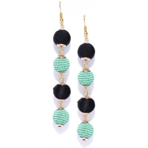 Crunchy Fashion Crunchy Fashion Sea Green & Black Beaded Spherical Drop Earrings Crystal Alloy Dangle Earring