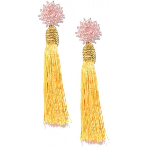 Crunchy Fashion Crunchy Fashion Yellow & Peach-Coloured Beaded Tasselled Drop Earrings Pearl Alloy Dangle Earring