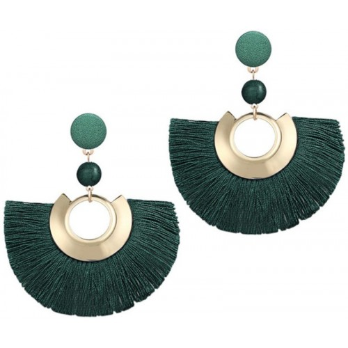 Crunchy Fashion Crunchy Fashion Green & Gold-Toned Tasselled Crescent-Shaped Drop Earrings Crystal Alloy Tassel Earring