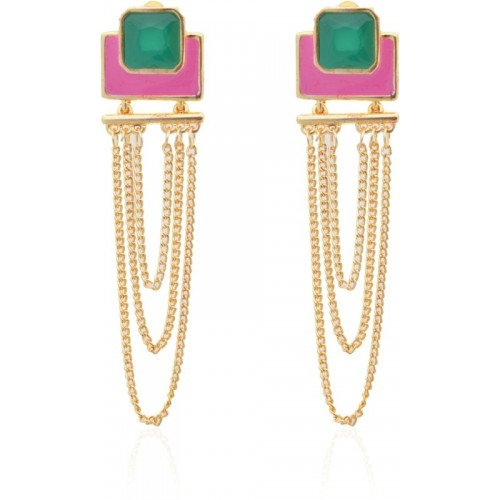 Crunchy Fashion Colorrush Fuchsia Multilayer Danglers Metal Chandelier Earring