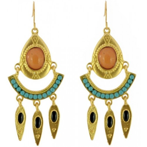 Crunchy Fashion Peach Blue Tribal Esoteric Alloy Dangle Earring