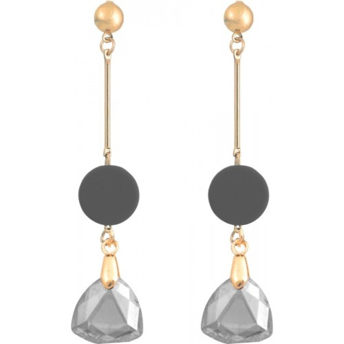Crunchy Fashion Party Wear Crystal Drop Metal Drop Earring, Dangle Earring