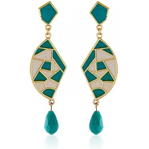 Crunchy Fashion Mosaic Sea Green Chic Alloy Drop Earring