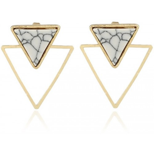 Crunchy Fashion Marble Triangle Stud Earrings Alloy Stud Earring