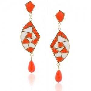 Crunchy Fashion Ivory-Orange Chic Mosaic Alloy Drop Earring