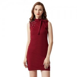 822e065c0d Miss Chase Women s Maroon Round Neck Sleeveless Cotton Solid Pearl  Detailing Neck Tie-Up Mini
