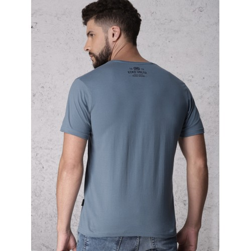 Ecko Unltd Blue Solid Slim Fit Round Neck T-shirt