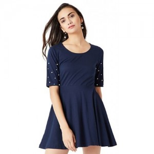 944fdef1af Miss Chase Women s Navy Blue Solid Round Neck Pearl Half Sleeve Mini Skater  Dress