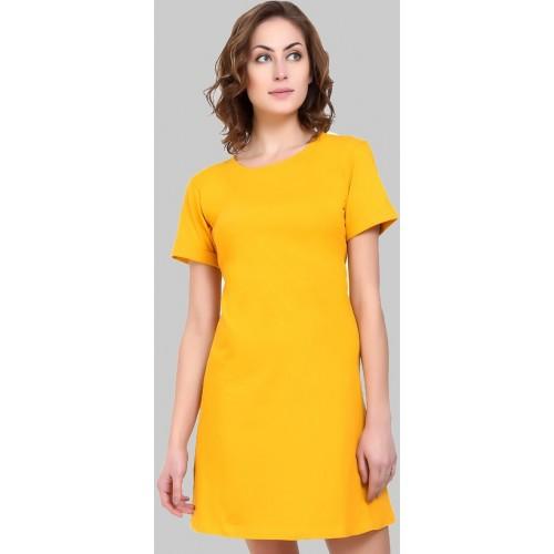 535015c273b Buy Code Yellow Women s Cotton Blend Yellow T-shirt Dress online ...