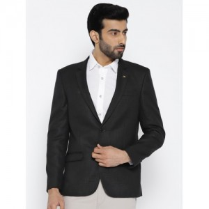 049d2055a41 Arrow Black   Grey Body Regular Tailored Fit Self-Design Single-Breasted  Casual Blazer