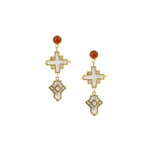 ZeroKaata Gold-Toned Geometric Drop Earrings